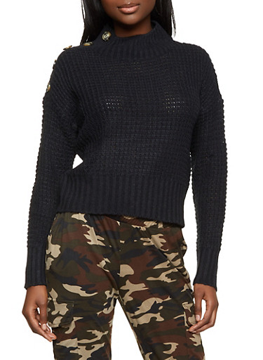 Waffle Knit Button Detail Sweater,BLACK,large