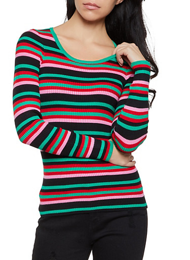 Striped Scoop Neck Long Sleeve Sweater,GREEN,large