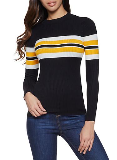 Striped Detail Mock Neck Sweater,BLACK,large