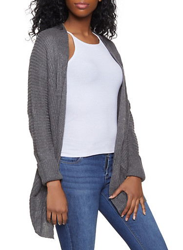 Knit Pocket Cardigan,HEATHER,large