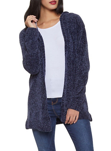 Hooded Chenille Cardigan,NAVY,large