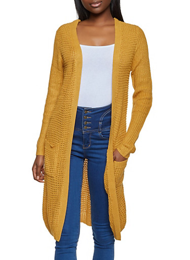 Long Sleeve Waffle Knit Duster,MUSTARD,large