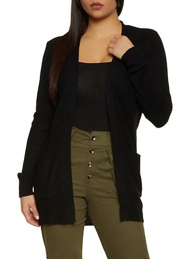Solid Long Sleeve Knit Cardigan,BLACK,large