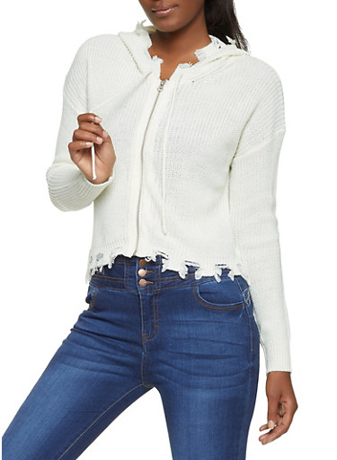 Frayed Zip Front Sweater,IVORY,large