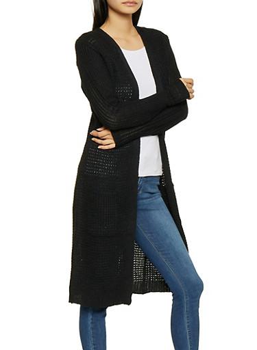 Long Knit Cardigan,BLACK,large