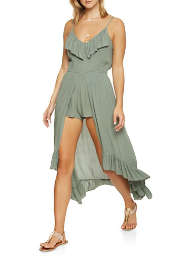 High Low Ruffle Maxi Romper,GREEN,large