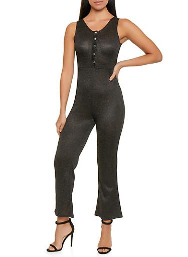 Shimmer Knit Half Button Jumpsuit,BLACK,large