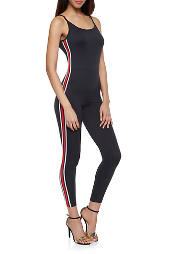 Striped Tape Catsuit,BLACK,large