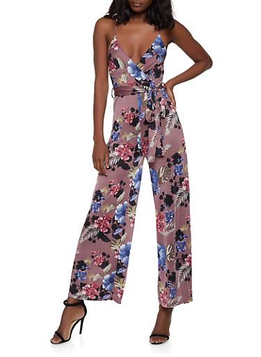 Floral Faux Wrap Cami Jumpsuit,MULTI COLOR,large