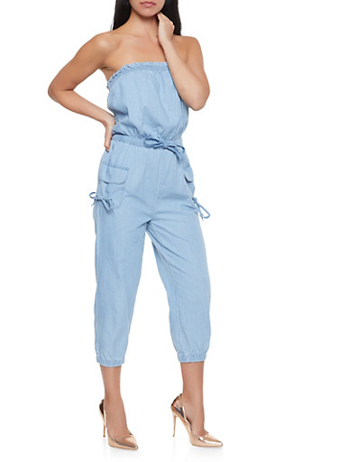 Strapless Cargo Denim Jumpsuit,MEDIUM WASH,large