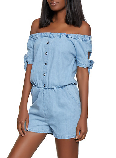 Denim Off the Shoulder Button Detail Romper,MEDIUM WASH,large