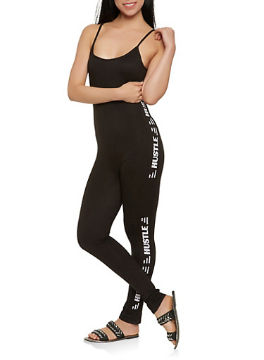 Hustle Graphic Soft Knit Catsuit   Tuggl
