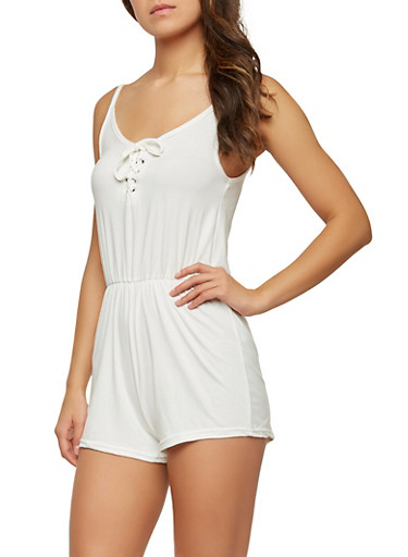 Lace Up Romper,IVORY,large