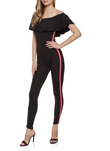 Striped Tape Trim Off the Shoulder Jumpsuit,BLACK,large