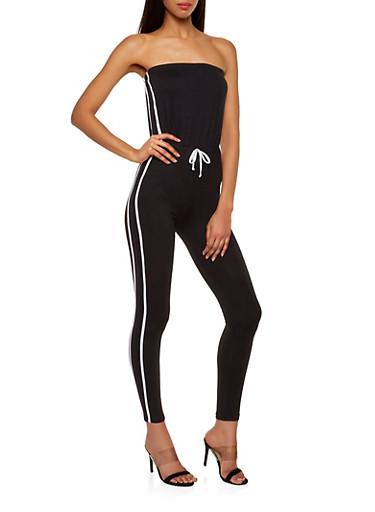 Varsity Stripe Tube Jumpsuit,BLACK,large