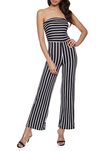 Striped Strapless Jumpsuit,BLACK/WHITE,large