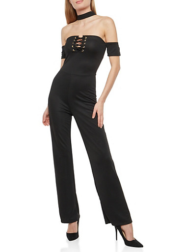 Off the Shoulder Choker Neck Jumpsuit,BLACK,large