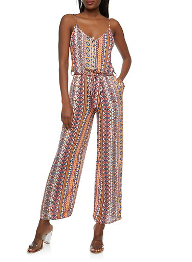Printed Wide Leg Belted Jumpsuit,IVORY,large