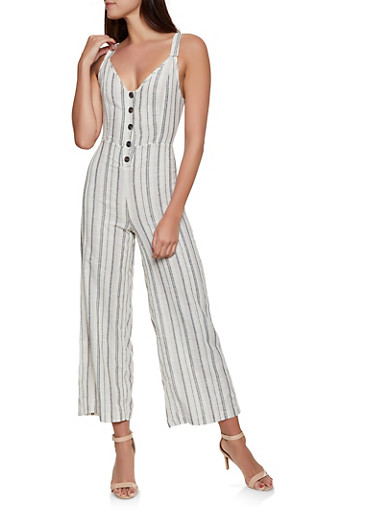 Half Button Striped Linen Jumpsuit,BLACK,large