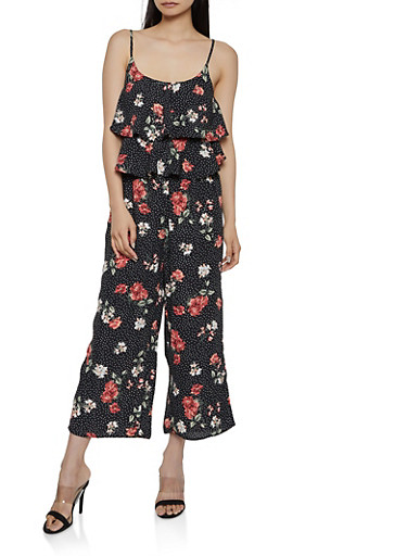 Ruffled Floral Polka Dot Cami Jumpsuit,BLACK,large