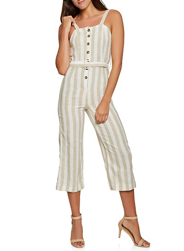 Striped Linen Button Front Jumpsuit,BEIGE,large