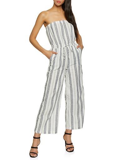 Striped Linen Jumpsuit,NAVY,large