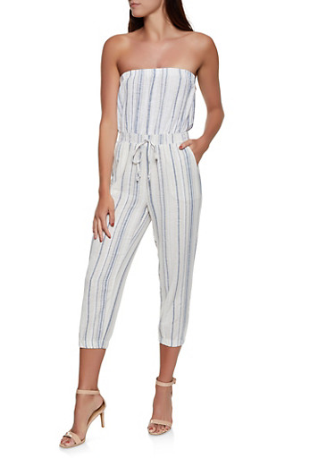 Strapless Striped Linen Jumpsuit,IVORY,large