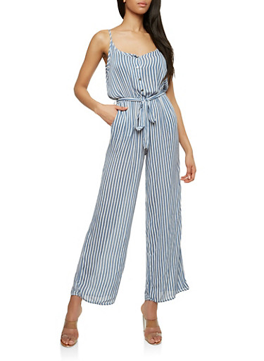 Printed Wide Leg Belted Jumpsuit,WHITE/BLUE,large