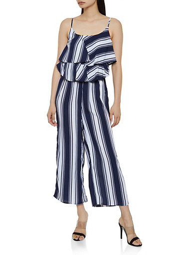 Ruffle Striped Cami Jumpsuit,NAVY,large