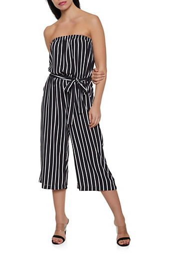 Cropped Palazzo Jumpsuit,BLACK/WHITE,large