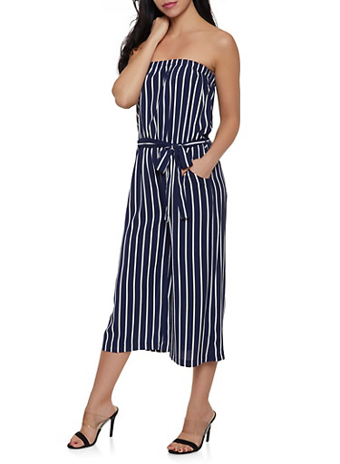 Cropped Palazzo Jumpsuit,NAVY,large