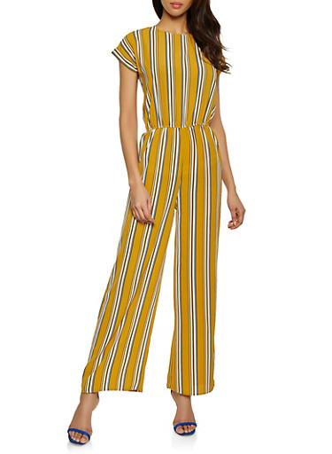 Crepe Knit Striped Jumpsuit,MUSTARD,large