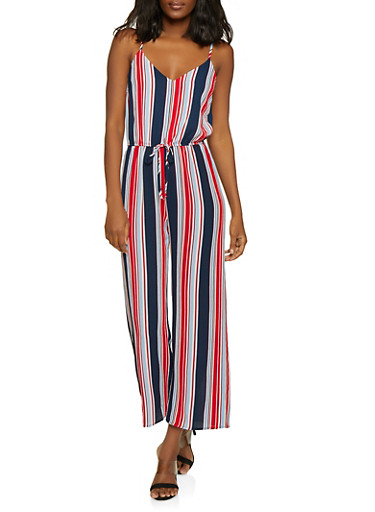 Striped Cinched Waist Jumpsuit,NAVY,large