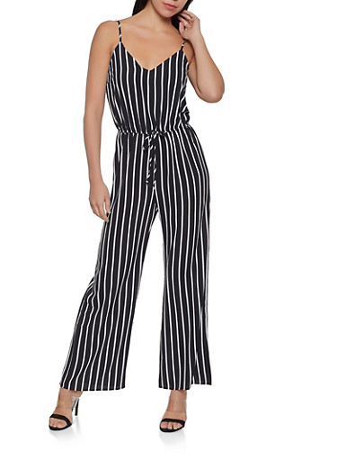 Striped Cami Jumpsuit,BLACK,large