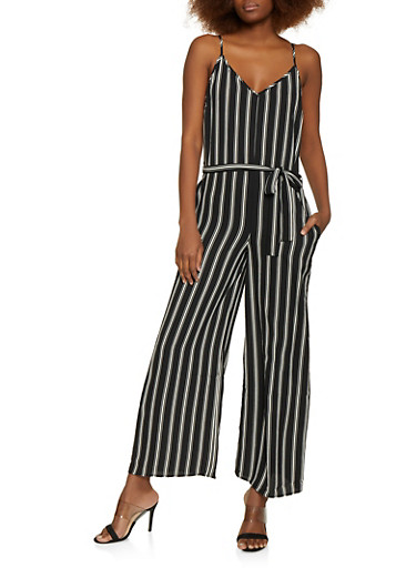 Multi Stripe Cami Jumpsuit,BLACK,large