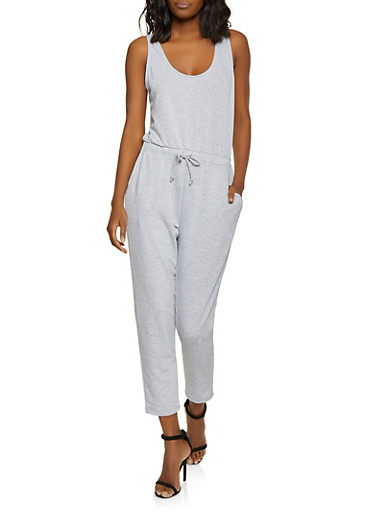 French Terry Lined Drawstring Waist Jumpsuit,HEATHER,large
