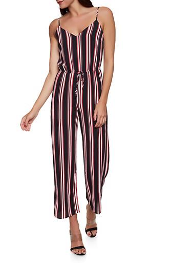 Multi Stripe Crepe Knit Wide Leg Jumpsuit,BLACK,large