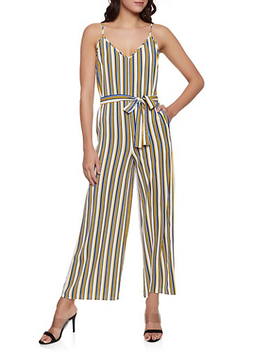 Striped Crepe Knit Tie Waist Jumpsuit,MUSTARD,large