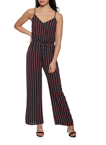 Striped Crepe Knit Cami Jumpsuit,BLACK,large