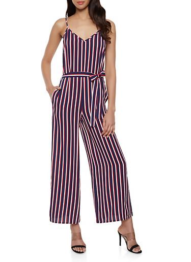 Sleeveless Striped Wide Leg Jumpsuit,NAVY,large