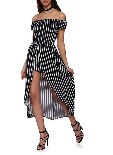 Striped Off the Shoulder Maxi Romper,BLACK/WHITE,large