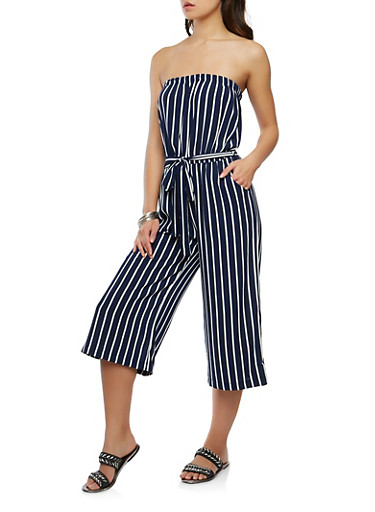 Striped Palazzo Jumpsuit,WHITE/BLUE,large