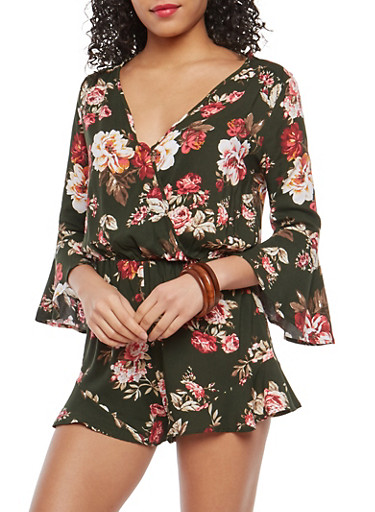 Floral Faux Wrap Bell Sleeve Romper,OLIVE,large