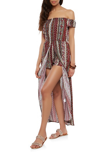 Off the Shoulder Border Print Maxi Romper,BURGUNDY,large