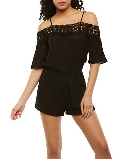 Off the Shoulder Crochet Trim Romper,BLACK,large