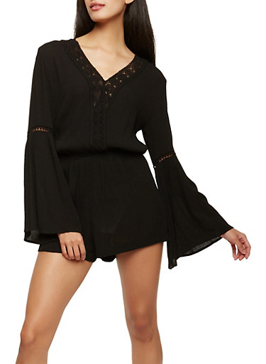 Gauze Knit Crochet Insert Bell Sleeve Romper,BLACK,large