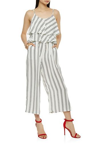 Striped Capri Jumpsuit,IVORY,large