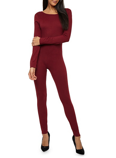 Soft Knit Long Sleeve Catsuit,BURGUNDY,large