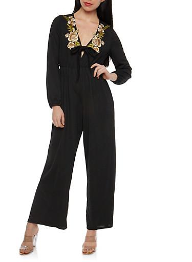Crepe Knit Floral Applique Jumpsuit,BLACK,large