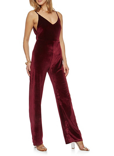 Velvet Wide Leg Jumpsuit,BURGUNDY,large